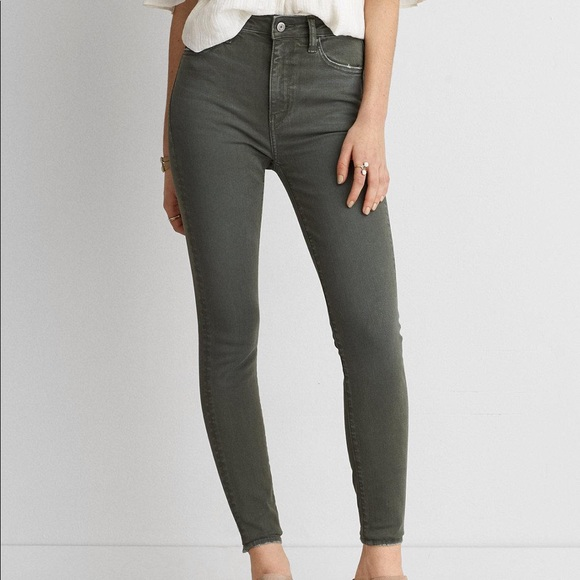 American Eagle Outfitters Denim - American Eagle; Dark Olive Sateen Jegging